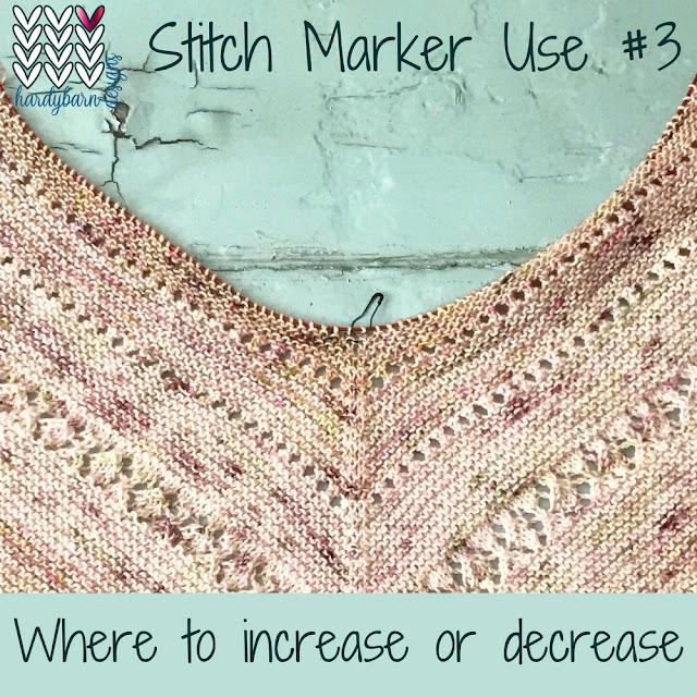 Blush pink knitting on the bias with marker at decrease line