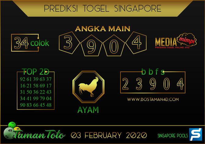 Prediksi Togel SINGAPORE TAMAN TOTO 03 FEBRUARY 2020
