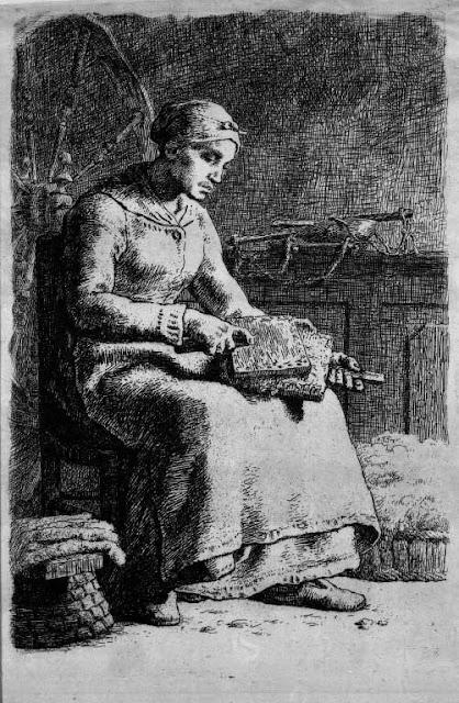 Жан Франсуа Милле - Женщина чешет шерсть. 1855
