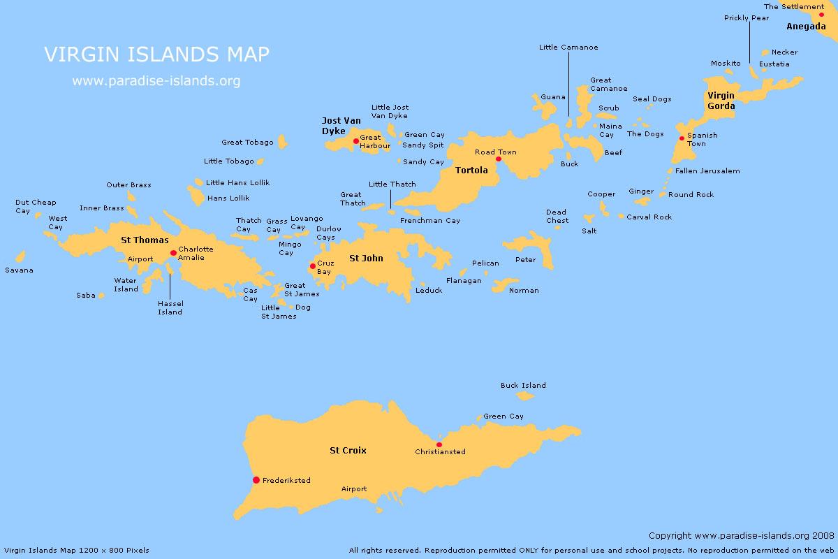 Mapas Ilhas Virgens Americanas | Estados Unidos da América