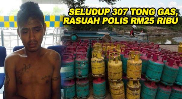 Polis Tangkap Lelaki Cuba Rasuah Polis RM25 Ribu Seludup 307 Tong Gas
