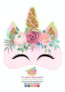Unicornio Rosa: Máscaras para Imprimir Gratis.