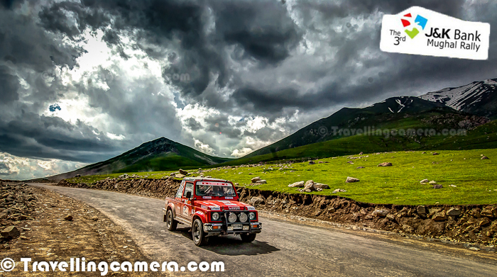 Last week 3rd Mughal Motorsports Rally happened in Jammu and Kashmir. This Photo Journey shares some moments with these flying machines at various places on Mughal Road. Let's check out this Photo Journey and know more about Mughal Rally and how it went..This Motorsports rally is organized by Himalayan Motorsports with 'J&K Bank' and 'J&K Tourism department'. Usually it's a three days event, which started on 29th with vehicle scrutiny. Whole day is dedicated to certify all vehicles as per rally guidelines. Every vehicle is checked on technical ground and ensured that driver & navigator are well equipped to drive during next two days. For more idea around the same, check out - http://www.xplorearth.com/program.htmThere were two competitions in Mughal Rally. One is called 'EXTREME' which is about speed. Each vehicle is released from start point afterregular intervals and they have to cover a particular terrain to reach final destination. Of course, vehicle with min time wins this but there are some penalty clauses as well. So calculation of winners is not that simple. First winner gets 2 Lac rupees and there are 5 prizes worth 2Lac, 1.25L, 1L, 50K, 25K. Entry Fees for each vehicle is 20K.Other competition is called 'ENDURO', which is more about disciplined and controlled driving. Other name is TSD (Time, Speed & Distance), which means that each vehicle has to move with constant speed, to cover a distance in specific time period. Vehicle with minimum delta wins this competition.After scrutiny on 29th June, first day of rally had to start at 2:30am on 30th. First day was on Mughal Road which connects Shri Nagar to Jammu through Peer-Ki-Gali. It was a wonderful stretch and J&K Tourism is working on this region to developfor tourism. This whole stretch has wonderful landscapes surrounded by snow covered hills and of-course waterfalls which are created out of melting snow on peaks.Local administration had wonderful arrangements for the rally. Most of the these roads were frozen for civil traffic, as it could have been dangerous. There are more than enough security on each turn of the Mughal Road. Ambulances, support vehicles and all other relevant resources were deployed upfront. All these rallies need lot of planning from organizer's point of view as well as local administration.First day completed with few minor break-downs due to which some of the participants were disqualified for day-2. One of the gypsy toppled and two girls started again within few minutes. It's amazing to see the passion & energy of these folks. Also this sport needs disciplined planning and straegic approach to reach the destination with full safety measures and keep yourself in competition. Every Vehicle has a driver and a navigator. Navigator is very important role of this game, which has critical responsibility with him. S/he keeps record of whole route and all minute details. So S/he keeps guiding the driver about the next movements.After tiring day on 30th June, it was time to relax for some time as next day had to start at 3:30 am again. So on first day, we started from Shrinagar and came back to Shrinagar after long drive through Peer-ki-gali. Second day was on other side of the Mughal Road. So we started at around 3:30am from Hotel Centaur (Shrinagar) and reached Sinthan Top between Kishtwar & Daksum. Sinthan Pass is a wonderful place capped with snow all around. Chilly wind was flowing around Sinthan HillsSecond day stretch had all dirt roads with melting snow flowing all over. All the roads were extremely narrow and plenty of turns. From the top of Sinthan Pass, we could see a stretch of 20 kilometers which was full of curved roads into the valley. On first day EXTREME folks had come back to Shrinagar, while ENDURA folks had gone to Jammu. On second day ENDURA folks had to come back through Sinthan Pass only. So, for EXTREME folks it was to & fro stage and for ENDURA, it was one side stage from Jammu to ShrinagarDifferent kinds of vehicles were participating in Mughal Rally, many of them were gypsys and others were TATA vehicles like XENON, SAFARI... Mahindra XUV500 was also there... Maruti's Grand Vitara... Detailed information about eligibility criteria for participating in Mughal Rally, check out - http://www.xplorearth.com/program.htFirst day of the rally was towards Rajouri district of Jammu&Kashmir and second day was towards Anantnag district.Third day is kept for prize distribution and podium finish ceremonies. But this year, these ceremonies were cancelled due to death of a rally participant on second day. One of the ENDURA vehicle went out of the way and got down to a deep valley. Driver died on the spot and navigator went to coma for some time. So third day ceremonies were cancelled.Some high end motorbikes also participate in Mughal Rally. After the event, one another scrutiny takes place to ensure that all vehicles were in right state and none of them was using any avoidable material.