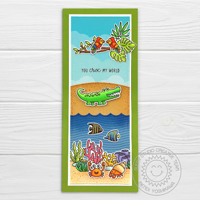 Sunny Studio: You Croc My World Punny Crocodile Card (using Outback Critters, Tropical Scenes & Best Fishes Stamps, Slimline Scalloped Frame Dies, Slimline Nature Border Dies, Stitched Scalloped Dies & Summer Splash Paper)