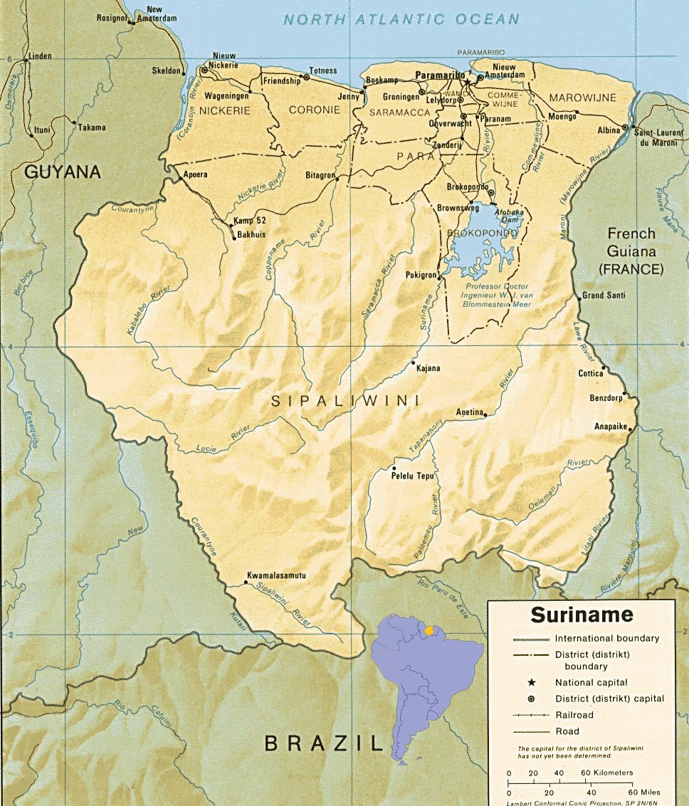 Mapas Geográficos do Suriname