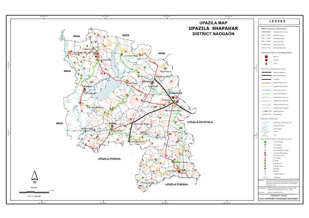 Sapahar Upazila Map Naogaon District Bangladesh