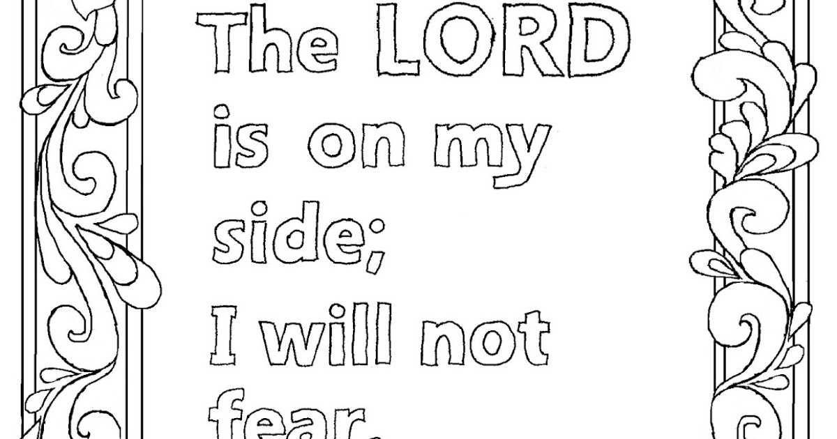 Coloring Pages for Kids by Mr. Adron: Psalm 118:6 Print