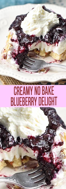 Recipe Creamy No Bake Blueberry Delight #cheesecake #cakes