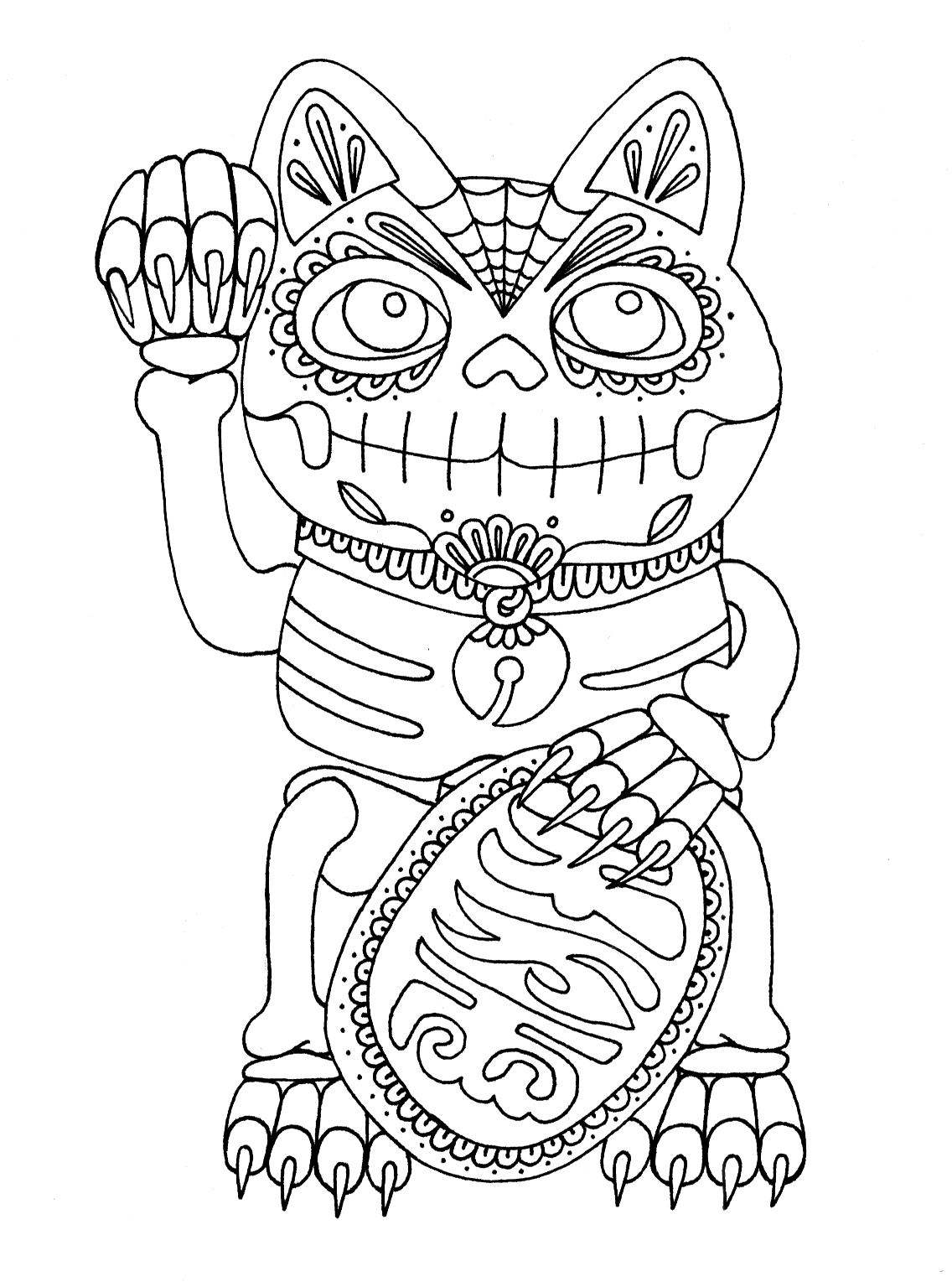 Day Of The Dead Cat Dog Coloring Page