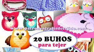 20 Patrones y Tutoriales de BUHOS para tejer / Colección