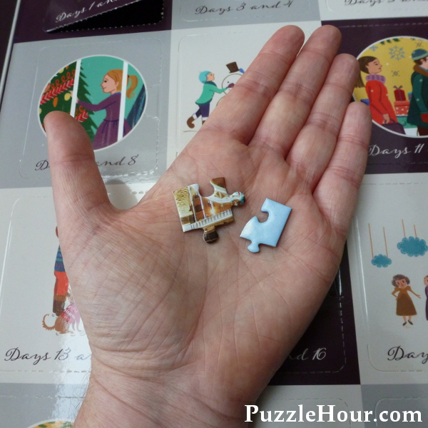 Comparing sizes of gibsons advent calendar jigsaw puzzle pieces to regular puzzles jigsaws mini