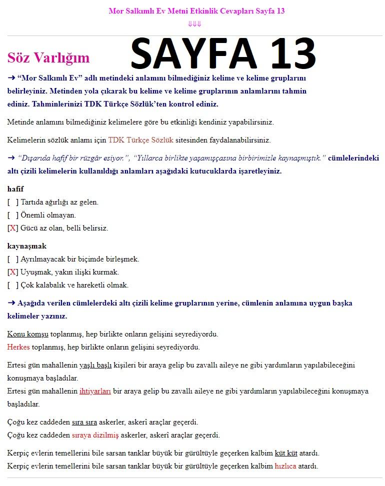 7. Sınıf Türkçe Çalışma Kitabı Cevapları Ders Destek sayfa 13