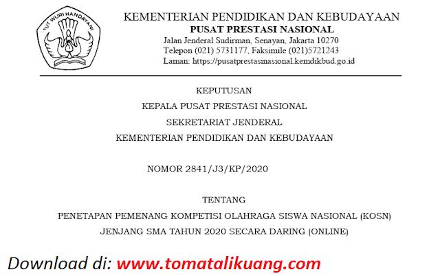 sk pemenang peraih medali emas perak perunggu kosn sma tahun 2020 pdf tomatalikuang.com