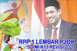 RPP PJOK SD Revisi 2020 1 Lembar Kelas 6 Semester 2