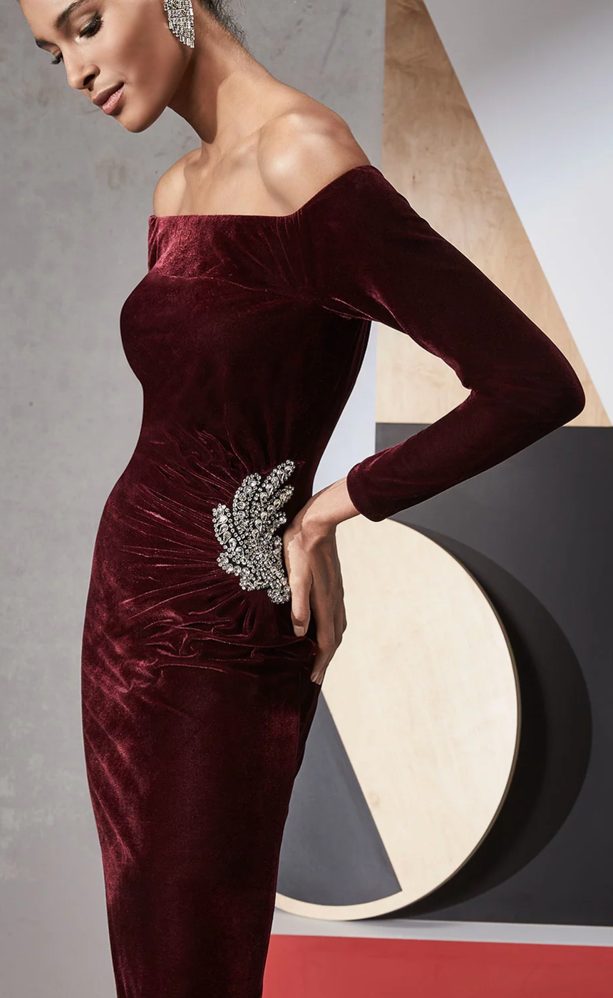 Jovani Off-the-Shoulder Velvet Cocktail Dress w/ Side Embellishment