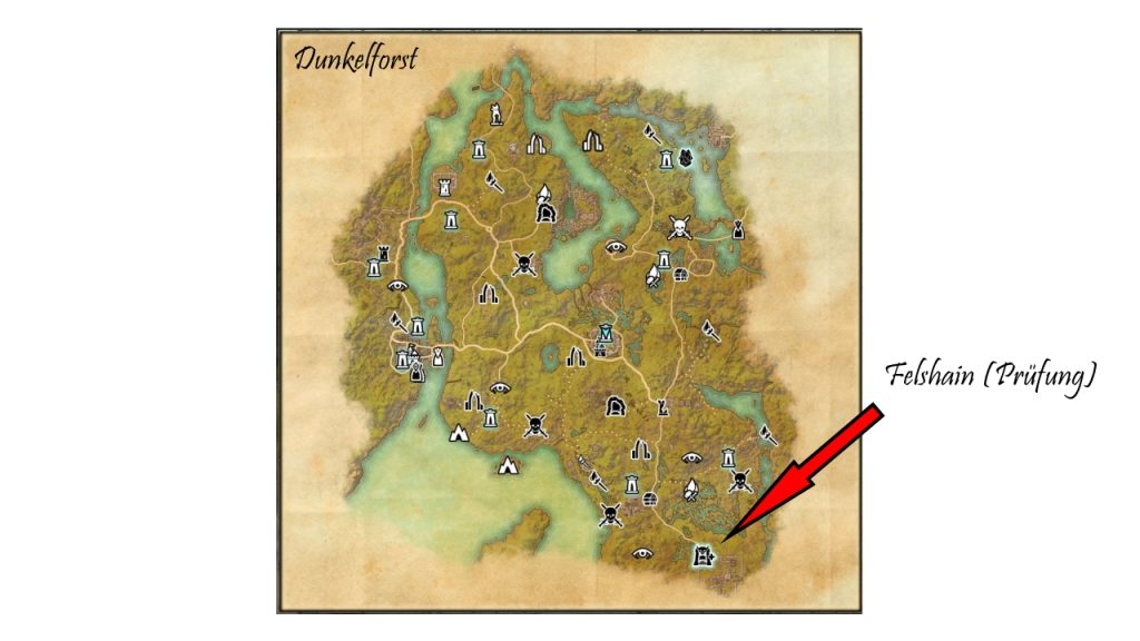 Map view: You can find the exam in the south of Darkforest.