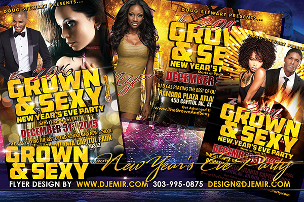 Grown And Sexy New Year's Eve Party Flyer Design 2016 Black Gold Themed NYE flyer design