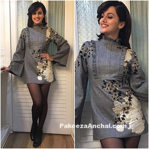 Tapsee Pannu in Bell Sleeved Short Chinese Skirt-PakeezaAnchal.com