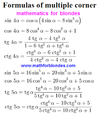 Trigonometry formulas multiple angles. Formulas of multiple corner. Sine four and five alpha, cosine 4 and 5 alpha, tangent of 4a and 5a, cotangent four and five alpha. Mathematics for blondes. Mathforblondes.