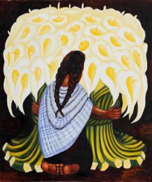 A vendedora de flores, pintura de Rivera. #PraCegoVer