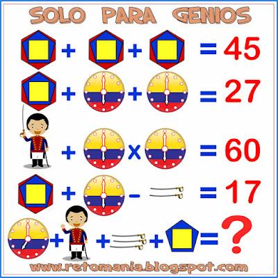 ¿Cuál es el resultado?, Descubre el resultado, Retos solo para genios, Problemas matemáticos tipo ecuaciones, Retos para pensar, Problemas para pensar, Problemas lógicos, Descubre el valor