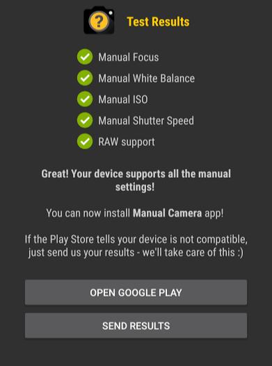 Manual Camera Compatibility Test