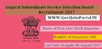 Gujarat Subordinate Service Selection Board Recruitment 2017– 400 Live Stock Inspector