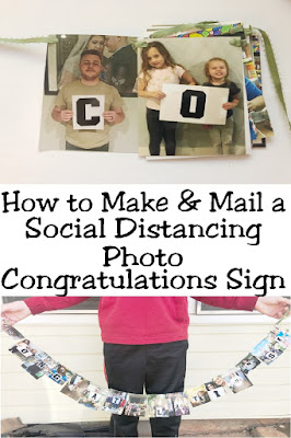 Send a social distancing Congratulations to your favorite graduate or amazing person with this photo Congratulations banner. Find complete directions on how to make a mail this by clicking here! #socialdistancing #graduationbanner #congratulationsbanner #diypartymomblog