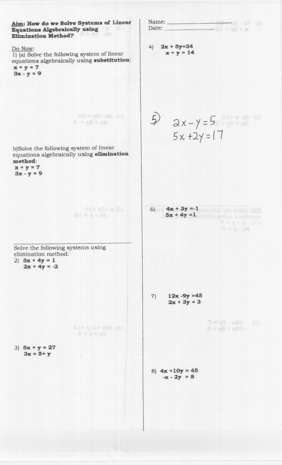 Mr. Napoli's Algebra: Aim: How do we solve a system of