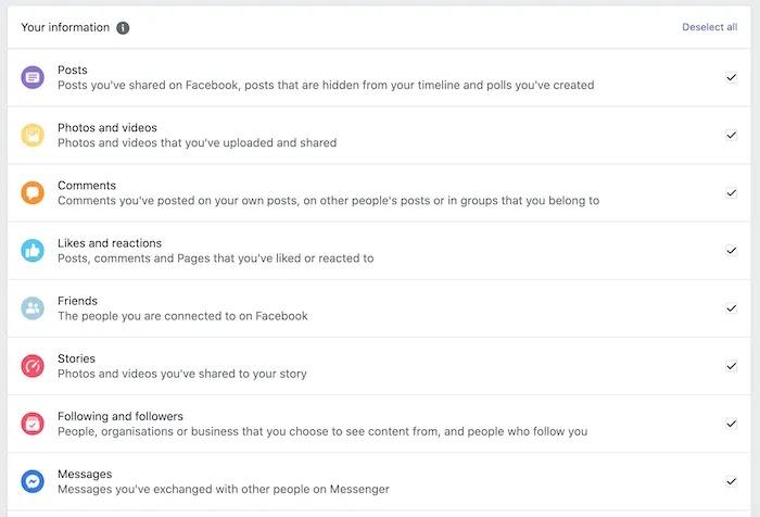 يمكنك تنزيل مجموعة كبيرة من البيانات من حسابك على Facebook.