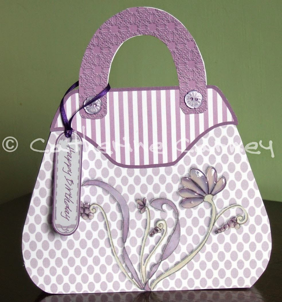 I Started Out By Using A Template And Papers From Fabulous Fashion Katy Sue Flowersoft So This Was The First Handbag Card Made