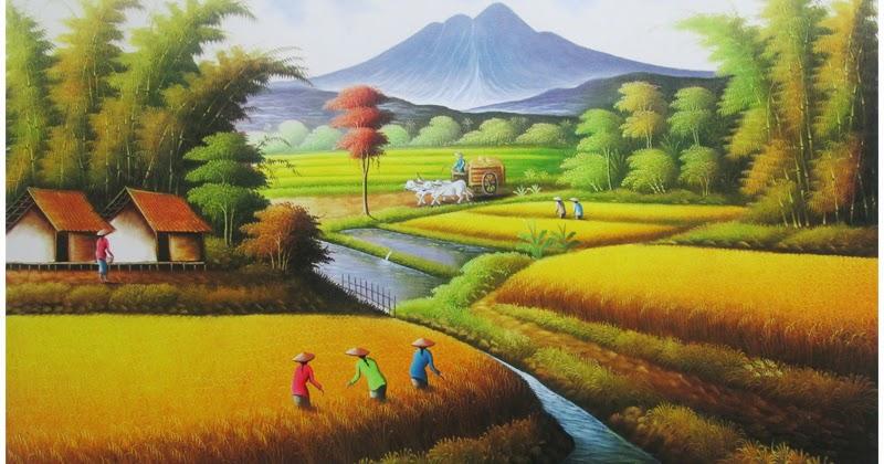 Gaya Terbaru 62 Gambar Lukisan Pemandangan Alam Sekitar