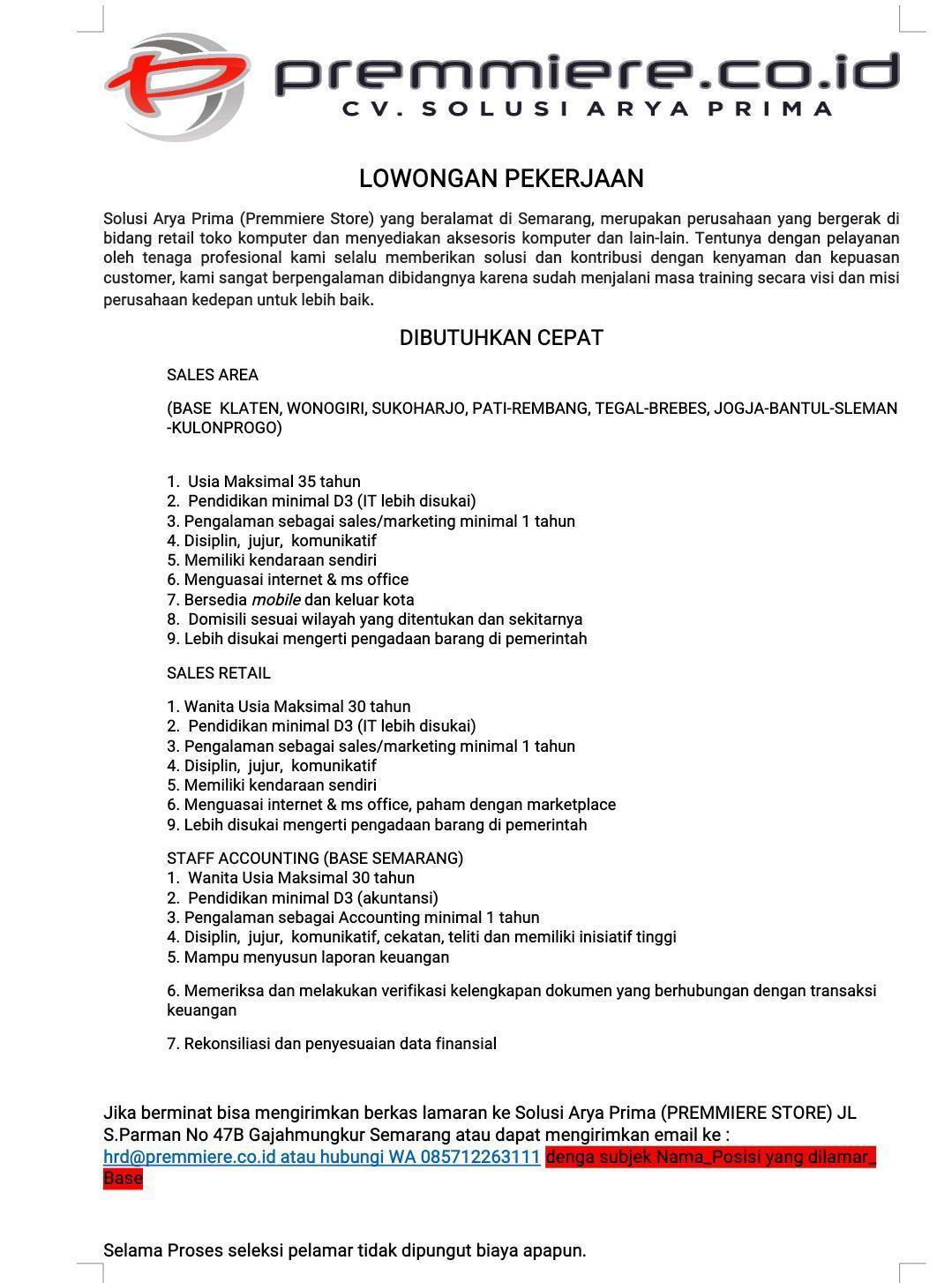 CV Solusi Arya Prima Membuka Lowongan Kerja Sebagai Sales Area, Sales Retail & Staff Accounting
