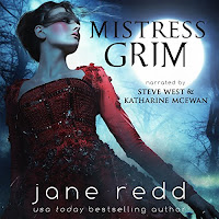 Mistress Grim audiobook cover. A woman in an exquisitely decorated red ballgown looks out across a moonlit night.
