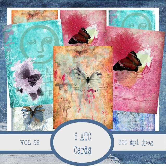 Artsy Butterfly 6 Images Digital Collage Sheet 2.5 X 3.5 ATC