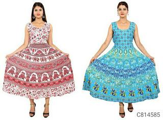 Delightful Cotton Jaipuri Printed A-Line Combo Kurtis
