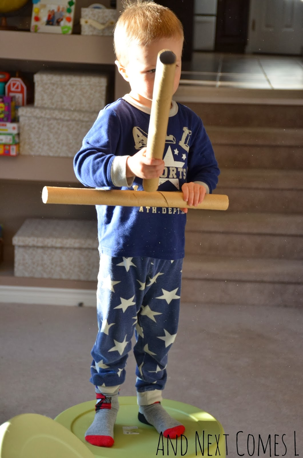 Boredom buster for kids using cardboard tubes from And Next Comes L