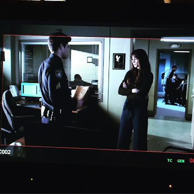 Spoby PLL behind-the-scenes photo Troian Bellisario and Keegan Allen filming 7x05