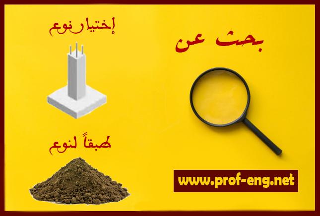 بحث عن كيفية إختيار نوع الأساسات طبقاً لنوع التربة