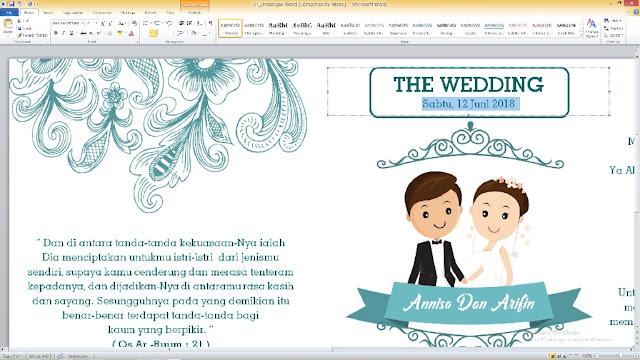 cara menggunakan Undangan Pernikahan Microsrosoft Word