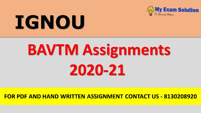 IGNOU BAVTM Assignments for 2020-21