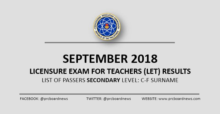 C-F Passers: September 2018 LET Result Secondary