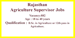 Agriculture Supervisor Jobs in Rajasthan