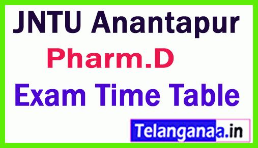 JNTU Anantapur Pharm D  Regular/ Supply  Exam Time Table