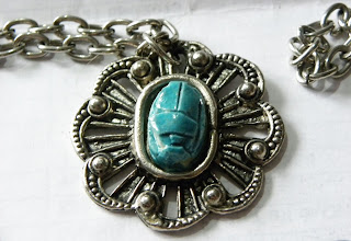 Turquoise scarab pendant necklace