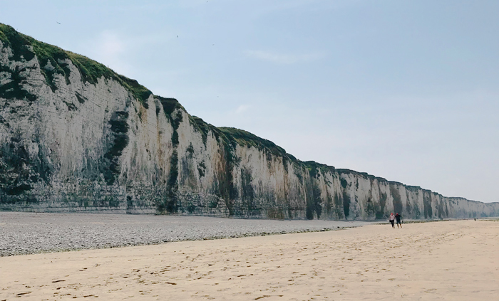 White Cliffs, pebble and sandy beach in Veules-les-roses