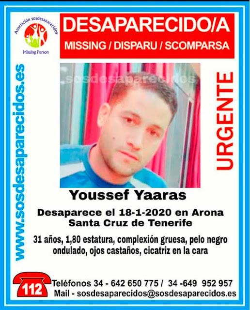 Youssef Yaaras desaparecido en Arona, Tenerife, desde el 18 enero