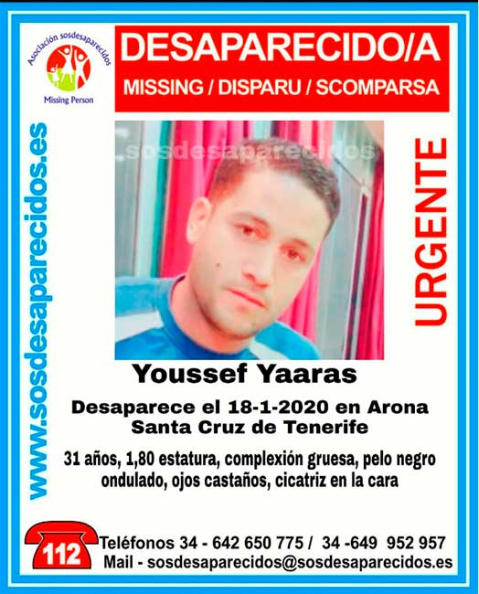 Desaparecido en Arona Tenerife, Youssef Yaaras