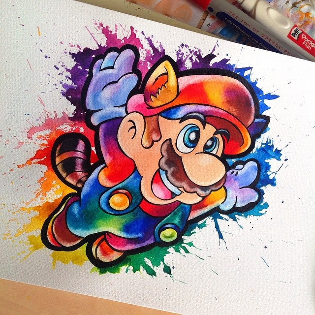 07-Flying-Mario-Lisa-Marie-Melin-LittleGeekyFanArt-Fan-Art-Comic-Manga-and-Video-Game-Paintings-www-designstack-co