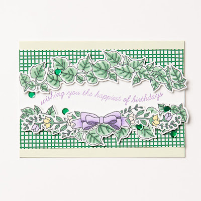 Sample card using vines from Quite Curvy Stamp Set